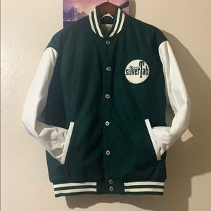Green and white silver tab jacket